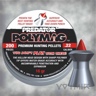 JSB Predator Polymag Airgun Pellets cal .22 5.50mm 200 pcs