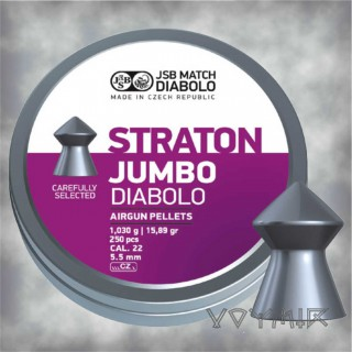 JSB Straton Jumbo  Airgun Pellets cal .22 5.50mm, 5.52mm 250 pcs