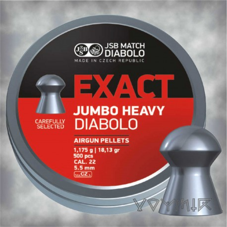 JSB Exact Jumbo Heavy Airgun Pellets cal .22 5.52mm & 5.53mm 500 pcs