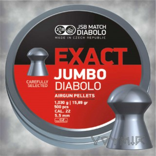 JSB Exact Jumbo Airgun Pellets cal .22 5.50mm, 5.51mm, 5.52mm 500 pcs