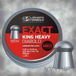 JSB Exact King Heavy MK2 Airgun Pellets cal .25 6.35mm 300 pcs
